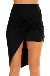 Womens Slimming Plain Irregular Hem Pencil Skirt Black