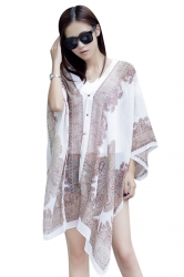 Womens Chic Chiffon Printed Shawl Poncho White