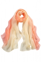 Womens Fashion Gradient Color Block Scarf Beige White
