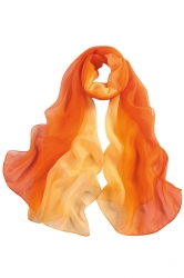 Womens Fashion Gradient Color Block Scarf Orange