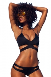 Womens Sexy Halter Bandage Cut Out Bikini Top & Swimwear Bottom Black