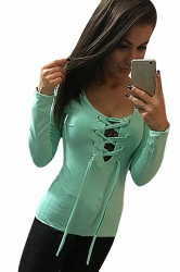 Womens Sexy Lace Up Long Sleeve Plain T Shirt Green