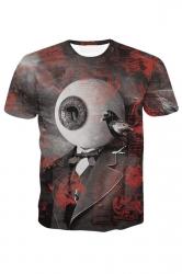 Womens Eyeball Printed Short Sleeve Tee Shirt Ruby
