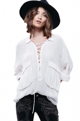 Womens Lace Up Front Pockets Long Sleeve Plain Blouse White