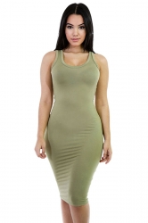 Womens Sexy Plain Bodycon Midi Tank Dress Army Green