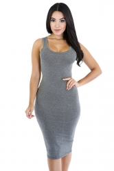 Womens Sexy Plain Bodycon Midi Tank Dress Gray
