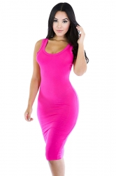 Womens Sexy Plain Bodycon Midi Tank Dress Rose Red