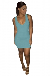 Women Sexy Plain Sleeveless Bodycon Tank Dress Blue