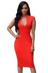 Womens Sexy Plunging Neckline Plain Sleeveless Clubwear Dress Red