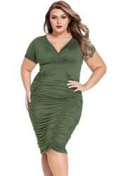 Womens Sexy Plus Size Ruched Short Sleeve Midi Dress Army Green