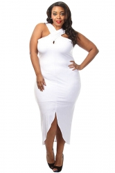 Womens Sexy Plus Size Cross Halter Slit Front Plain Dress White