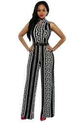 Womens Casual Printed High Waist Palazzo Jumpsuit Black
