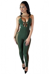 Womens Sexy Cut Out Sleeveless Plain Bodycon Jumpsuit Green