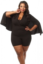 Womens Sexy Plunging Wrap V Neck Cape Romper Black