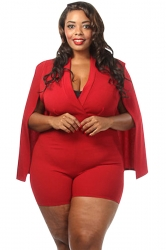 Womens Sexy Plunging Wrap V Neck Cape Romper Red