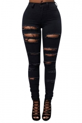 Womens Sexy Cut Out Ripped Plain Denim Jeans Black