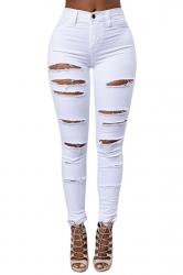 Womens Sexy Cut Out Ripped Plain Denim Jeans White