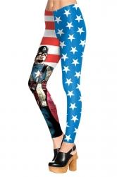 Womens Slimming 3D Captain America Printed Pencil Leggings Blue