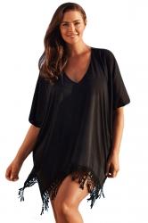 Womens Sexy Plain V Neck Fringe Beach Dress Black