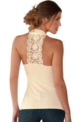 Womens Sexy Lack Patchwork Back Off Shoulder Top Beige
