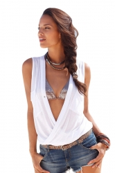 Womens Sexy Cross Deep V Neck Pockets Sleeveless Tank Top White