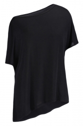 Womens Casual Oblique Shoulder Short Sleeve Plain T Shirt Black