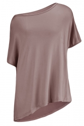 Womens Casual Oblique Shoulder Short Sleeve Plain T Shirt Khaki