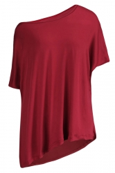 Womens Casual Oblique Shoulder Short Sleeve Plain T Shirt Ruby