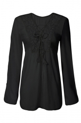 Womens Sexy Plain Long Sleeve Lace Up Front Blouse Black