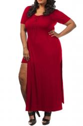 Womens Sexy Plain Plus Size Lace-up Front Slit False 2-piece Dress Red