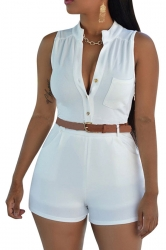 Womens Sexy Single-breasted High Waisted Sleeveless Romper White
