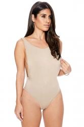 Womens Sexy Bodycon Plain Backless Bodysuit Khaki