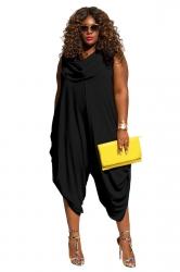 Womens Plus Size Heaps Collar Ruched Plain Jumpsuit Black