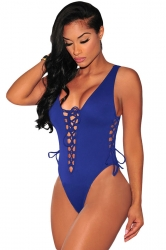 Womens Sexy Plain Lace Up Cut Out Monokini Sapphire Blue