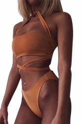 Womens Sexy Cross Bandage Bandeau Bikini Top&Bathing Suit Bottom Brown