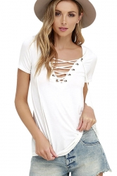 Womens Sexy Plain Lace-up V Neck Short Sleeve T Shirt White