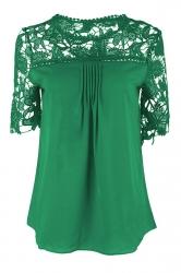 Womens Sexy Plain Lace Splicing Short Sleeve Blouse Dark Green