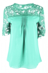 Womens Sexy Plain Lace Splicing Short Sleeve Blouse Light Green