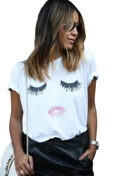Womens Casual Eyelash and Lip Printed T Shirt White