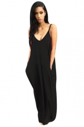 Womens Sexy Loose Spaghetti Straps Plain Maxi Dress Black