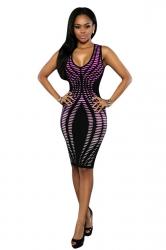 Womens Sexy Gradient Tunic Sleeveless Bodycon Dress Purple