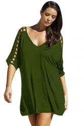 Womens Sexy Plus Size Hollow Out Half Sleeve Dress Green