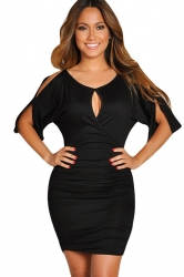 Womens Sexy Cutout Cold Shoulder Draped Bodycon Dress Black