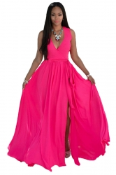 Womens Sexy V Neck Slit Sheer Sleeveless Maxi Dress Rose Red