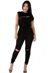 Womens Stylish Zip Line Front Cut Out Plain Jumpsuit Black