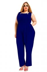 Womens Sexy Plus Size V Back Draped Sleeveless Jumpsuit Blue