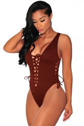 Womens Sexy Plain Lace Up Cut Out Monokini Brown