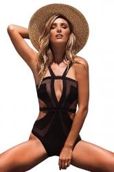 Womens Sexy Mesh Patchwork Cut Out Monokini Black
