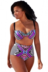 Womens Sexy Plus Size Printed Top&High Waist Bottom Bikini Set Purple