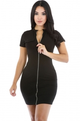 Womens Sexy Zipper Front Short Sleeve Plain Bodycon Dress Black